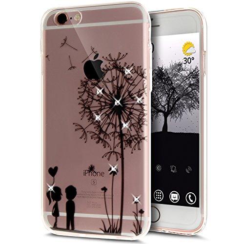 Coque iPhone 6S Plus, Étui iPhone 6 Plus, iPhone 6S Plus/iPhone 6 Plus Case, ikasus® Coque iPhone 6S Plus/iPhone 6 Plus Fleur peinte avec Luxe Shiny Glitter Strass Cristal Brillant Bling Diamant Houss Pissenlit