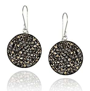 Pavé di cristallo di rocca cluster orecchini in argento 925lunetta realizzato con cristalli Swarovski originali