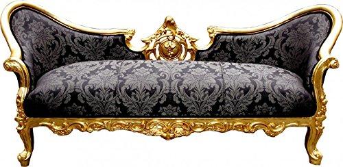Barock Sofa Vampire Schwarz Muster/Gold - Möbel