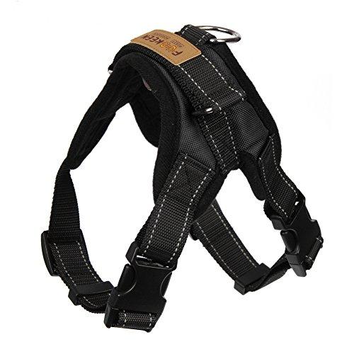 Funkeen Hundegeschirr Brustgeschirr Sicherheitsgeschirr aus Oxford Tuch für mittlere große Hund (M, Schwarz)