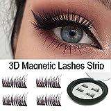 Dual Magnetische falsche Wimpern - 1 Paar / 4 Stück 3D Magnetische Falsche Braun Wimpern Wiederverwendbare Magnet Wimpern Verlängerung Natürliche Weiche Untra-dünne Bequeme Künstliche Wimpern Make-up