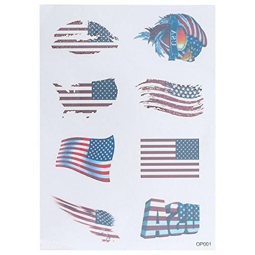 korationen American Country Flag Tattoo Aufkleber Körper Gesicht Kunst Tattoo Aufkleber für Nationalfeiertag Unabhängigkeitstag ()