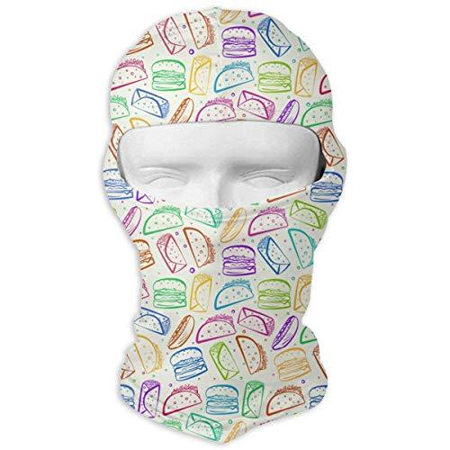 Wfispiy Volle Gesichtsmaske Bunte Tacos Burritos Art Taktische Frauen Und Männer Bandana Stirnband Headwear