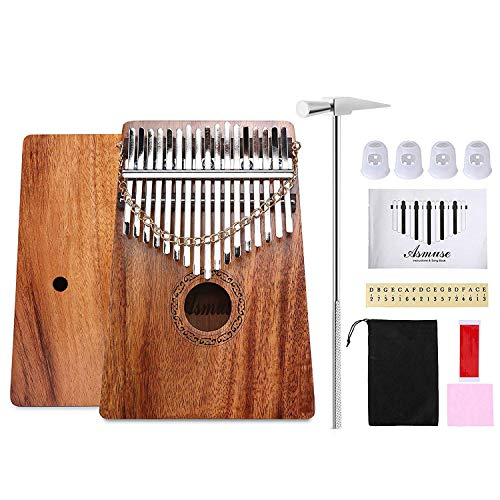 Asmuse Mahagoni Kalimba Daumenklavier 17 Schlüssel Mbira Instrument Musikalisches Geschenk mit Tragetasche Musik Buch Musikwaage Aufkleber Stimmhammer und Fingerschutzplektren