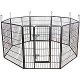 Songmics 8-tlg Welpenauslauf für Hunde Kaninchen kleine Haustiere 80 x 100 cm Farben auswählbar