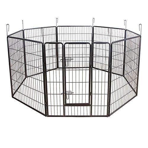 Songmics 8-tlg Welpenauslauf für Hunde Kaninchen und Andere Kleine Haustiere 80 x 100 cm (B x H) Grau PPK81G