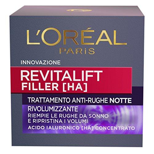 L'Oréal Paris Revitalift Filler Crema Viso Antirughe Rivolumizzante Notte con Acido Ialuronico Concentrato, 50 ml