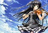 Fototapete Nippon Collection, bezaubernde Violinistin vor strahlend blauem Himmel, 7 Bahnen hochwertige Vliestapete, 325,5 x 225,5 cm