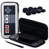 Pandaren® 3 IN 1 Trage tasche Beutel Lagerung Aufbewahrungsbox (NES) für Nintendo Switch Konsole und Spiele MIT Silikon hülle x 2, PRO Daumen Griffe aufsätze x 8