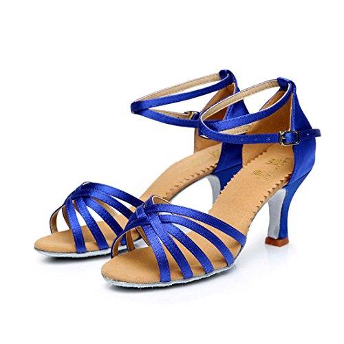 Wxmddn Ballo latino blu scarpe scarpe da ballo 7cm soft suole di scarpe da ballo satin indoor scarpe da ballo quattro stagioni Blue 7cm