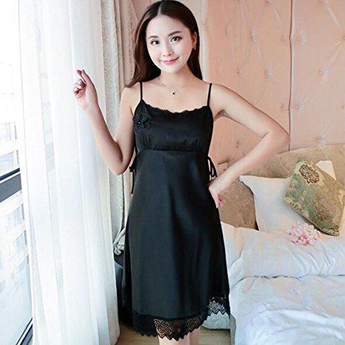 Panties Frauen Sexy Dessous Chemise Damen Satin Spitze Nachthemd Weiche Elegante Nachtwäsche ( Color : Black , Größe : XXL ) (Intimen Dessous Chemise)