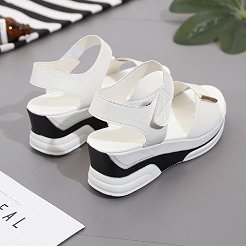 Sommer Schüler Sandalen,Kaiki Damen Sommer Sandalen Schuhe Peep-Toe Low Schuhe Römische Sandalen Damen Flip Flops White