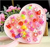 #1: Quvom Cute Cartoon Finger Rings for Girls Gifting 36 pcs Box