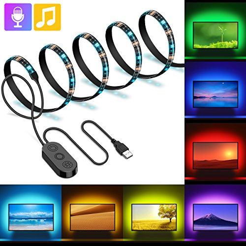 LED Tira USB Para TV, Minger 2M Retroiluminación LED Impermeable 5050 Colores RGB, Modo de Música Micrófono Integrado con Controlador para HDTV, Oficina, Espejo, Computadora, etc.