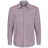 Almsach Herren Trachtenhemd Regular-Fit Trachten-Mode traditionell-kariert s-XXL viele Farben, Größe:M, Farbe:Aubergine
