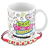 Tuelip Best Friend Forever Beautiful Graffiti Mug With Free Friendship Band For Tea And Coffee 350 Ml Ceramic Printed Mug