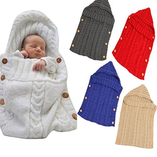OULII Neugeborene Baby Wrap Swaddle Decke Kleinkind Knit Schlafsack Sack Stroller Decken Foto Stützen für 0-12 Monat Baby (Weiß)