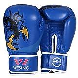 wesing adultes Gants de boxe MMA Sanda Gants de boxe en cuir, bleu