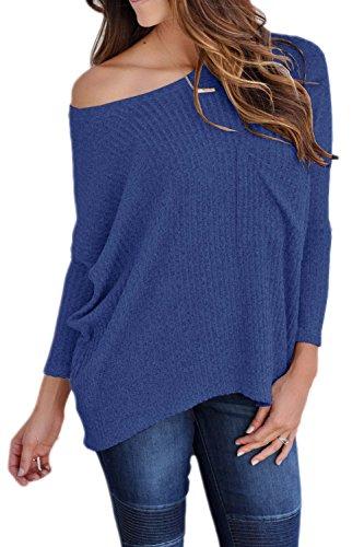 Perdre Une Épaule Occasionnels Femmes Hiver Knit Cardigan Max blue