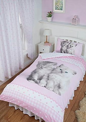Single Bed Misty & Mac, Rachael Hale Duvet / Quilt Cover Bedding Set Fully Reversible, Cute Kitten Cats Polka Dot Gingham Ribbon Print Border, Pink White