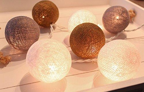 Lichterkette mit 35 Kugeln aus Baumwolle 'Ambiance' - Cotton Ball Lights in weiß - braun - grau , innen