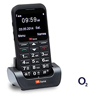 TTfone Earth O2 Pay As You Go Big Button UK Sim Free Mobile Phone with Huge Screen, SOS Button and Dock