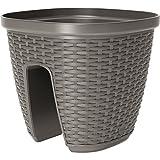 Emsa Geländertopf für den Balkon, 9 Liter, Selbstbewässerungssystem, Quarzgrau, Casa Mesh, 517738