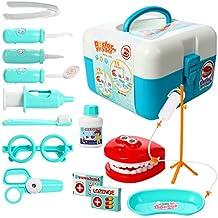 ThinkMax 15 piezas de juego de médico conjunto, kit de dentista de plástico, juego de rol de papel médico juguetes para niños y niños (Azul)