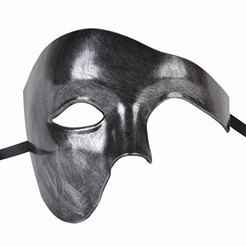 Funpa Venezianische Maske Half Face Phantom der Oper Maske Mardi Gras Maske Kostüm Gesichtsmaske für Männer