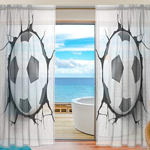 Bigjoke window sheer curtain panels drape sport palla da calcio da cucina camera da letto soggiorno ufficio 2pezzi in voile, multi, 55x78 inches