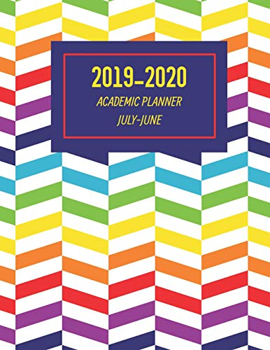 Academic Planner: Weekly And Monthly Calendar Agenda Organizer July Through June - Rainbow Herringbone (Annual Academic Planner 2019-2020, Band 3) (Herringbone-band)