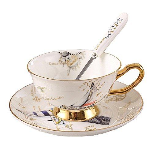 Porzellan Keramik Tee-Tasse Kaffeetassen mit Untertassen, Stempel, Segelboot, Weiß Und Golden