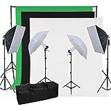 BPS 500W Kit Softbox Paragua Fotografía iluminación de Estudio Fotográfico - 2 softbox 50x70cm + 2 paragua + 3 telón muselina algodón de fondo 2.8x1.8m (negro verde blanco) + sistema soporte + bolsa de transporte - Equipo profesional de estudio fotográfico casero para retrato, vídeo - Backdrop Lighting Foto Kit