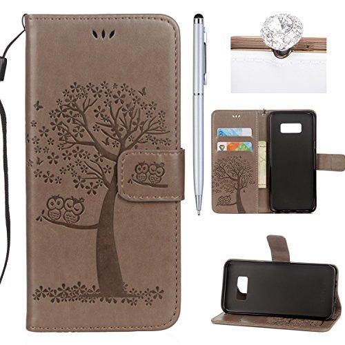 Preisvergleich Produktbild Felfy Hülle Samsung Galaxy S7 Leder Flip,Galaxy S7 Tasche mit Kartenfach,Galaxy S7 Handyhüllen Leder PU Leder Wallet Klapphülle Flip Book Case mit Niedlich Eule Muster PU Leder & Silikon,Grau