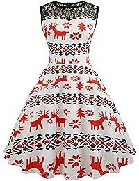 Biback Vestido de Fiesta de Navidad de Sin Mangas con Estampado de Navidad Vestido de Fiesta