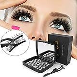 Magnetische Wimpern, 3D Magnet Künstliche Wimpern Set, Aibeau Falsche Wimpern, 3 Magnete Natürlicher Look für Makeup Wimpernverlängerung mit Clip, Wiederverwendbar, Kein Klebstoff (Wimpern)