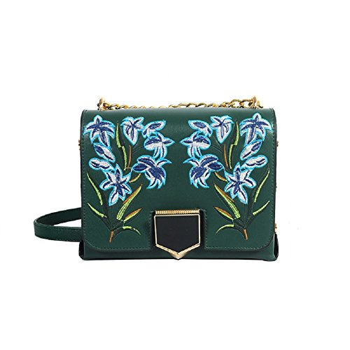 GZHOUSE Stilvolle PU-lederne Blume gestickte Querkörper-Schulter-Kurier-Beutel-Handtasche (Grün) (Kurier-tasche Kleine)