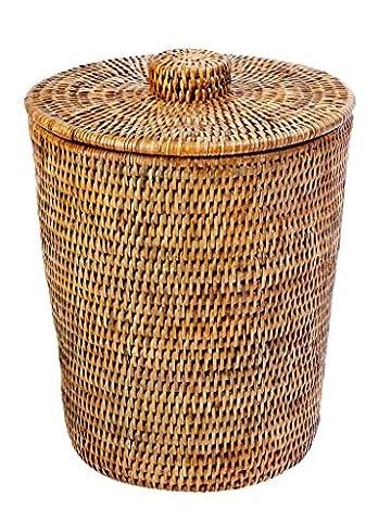 KOUBOO La Jolla Rattan Round Waste Basket with Plastic Insert and Lid, Honey Brown