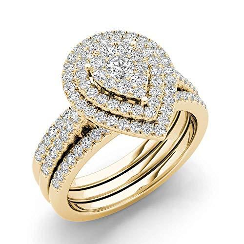 Fede nuziale in oro 10 carati con diamanti da 0,60 ct, anello di fidanzamento (i2-clarity-h-i-color) e 10 ct oro giallo, 18,5, cod. hr-rb13214-8.5-y