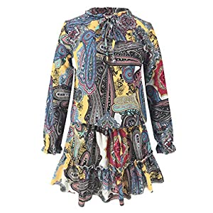Toasye Vintage Bohemian Long Sleeve Beach Print Minikleid für Damen Spitzenkleid Träger Rückenfreies Kleider Sommerkleider Strandkleider