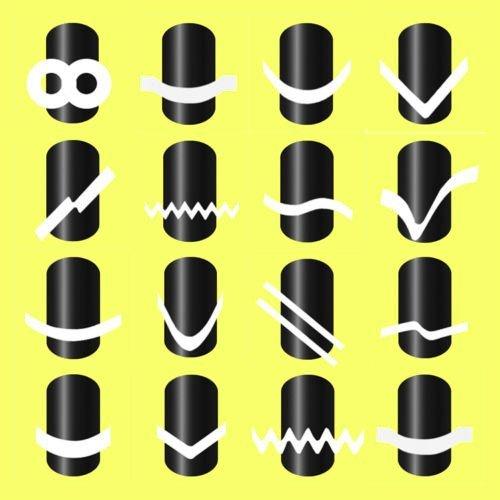 Born Pretty Lot De 16 Paquet Guides Autocollants pour French Manucure Nail Art