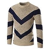 Wool Sweater Mens Autumn Winter Pullover Slim Knitwear Jumper (2XL, Khaki)
