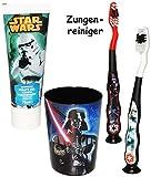 4 TLG. Zahnputzset -  Star Wars / Darth Vader  - mit 2 Zahnbürsten & Zahnputzbecher & Zahncreme - Kinder & Baby _ hochwertige Borsten - Babyzahnbürste & Kin..