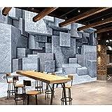 Mural de papel tapiz de piedra de ladrillo estéreo 3D, pintura de pared de sala de estar de paredes, papel de pared de piedra geométrica gris acuarela 280 cm (ancho) x 180 cm (alto)