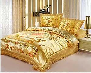 Joybuy Or Dragon chinois 4 Draps de lit, couvre-lit, couvre en dentelle pour mariage-lits, linge de lit de luxe unique Sets Parure de lit queen Doudou non inclus