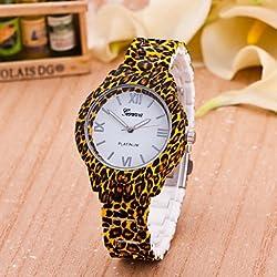 XKC-watches Relojes de Mujer, Mujer Reloj de Moda Cuarzo Plastic Banda Leopardo Marrón Marca- (Color : Blanco, Talla : Una Talla)