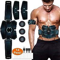 EITEYI Elettrostimolatore per Addominali Elettrostimolatore Muscolare ABS Stimolatore Addome/Braccio/Gambe con USB Ricaricabile, 14 Pezzi Gel di Ricambio (7 Pacco)