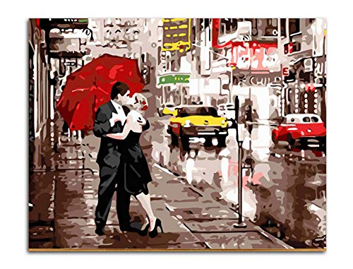 dxycfa DIY Digital Kuss Auf Wiedersehen Bilder Nach Zahlen Färbung Street Lover Leinwand Malerei Abstrakte Wandkunstausgangsdekor