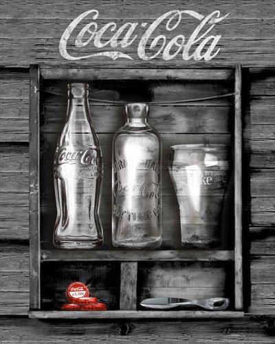 Poster Coca Cola Flaschen und Öffner im Holzregal - Größe 40 x 50 cm - Miniposter (Coca-cola-flaschen Deckel)