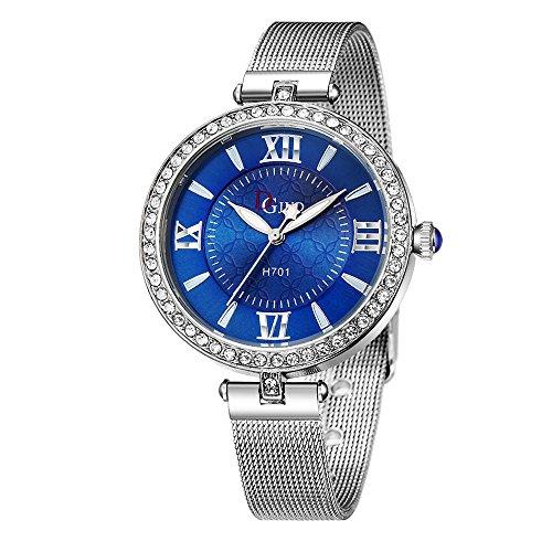 Damen Quarz Armbanduhr, Weant Damen Uhr Klassisch Frauen Uhren Silber Uhren Damen Uhr Maschen Diamant Uhrenarmband Quarz Analog Damen Uhren kleid Uhren Frauen Mode Legierung Armbanduhren (Blau)